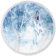 Priestess Round Beach Towel by John Edwards