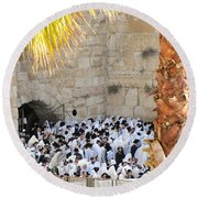 Round Beach Towel featuring the photograph Prayer Of Shaharit At The Kotel During Sukkot Festival by Yoel Koskas