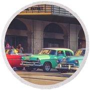 Primary Color Classic Cars Havana Cuba Matte Finish Round Beach Towel