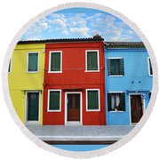Primary Colors Too Burano Italy Round Beach Towel
