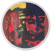 Primary Faces Round Beach Towel