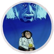 Round Beach Towel featuring the painting Primitive Daydream by Paxton Mobley