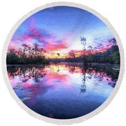 Primordial Sunrise Round Beach Towel by JC Findley
