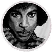 Prince Art - Pencil Drawing From Photography - Ai P. Nilson Round Beach Towel