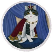 Prince Anakin The Two Legged Cat - Regal Royal Cat Round Beach Towel