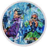 Prince And Stevie Round Beach Towel by Richard Day