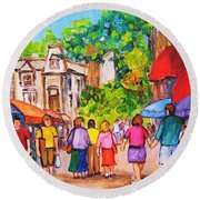 Round Beach Towel featuring the painting Prince Arthur Street Montreal by Carole Spandau