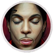 Round Beach Towel featuring the painting Prince Artwork 2 by Sheraz A