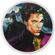 Round Beach Towel featuring the painting  Prince Batdance by Darryl Matthews