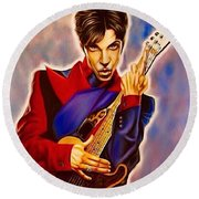 Round Beach Towel featuring the painting Prince by Darryl Matthews