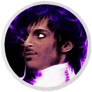 Prince - His Royal Badness Round Beach Towel by Stephen Younts