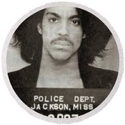 Prince Mug Shot Vertical Round Beach Towel