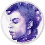 Prince Musician Watercolor Portrait Round Beach Towel