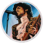Prince Painting Round Beach Towel