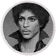 Prince - Tribute In Black And White Sketch Round Beach Towel