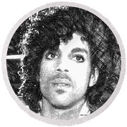 Prince - Tribute Sketch In Black And White 3 Round Beach Towel