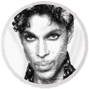 Prince - Tribute Sketch In Black And White Round Beach Towel