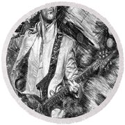 Prince - Tribute With Guitar In Black And White Round Beach Towel
