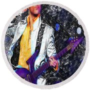 Prince - Tribute With Guitar Round Beach Towel by Rafael Salazar