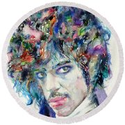 Prince - Watercolor Portrait Round Beach Towel by Fabrizio Cassetta