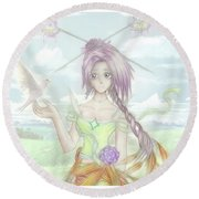 Round Beach Towel featuring the mixed media Princess Altiana Colour by Shawn Dall