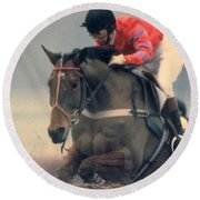 Princess Anne Riding Cnoc Na Cuille At Kempten Park Round Beach Towel
