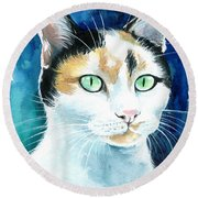 Princess - Calico Cat Portrait Round Beach Towel