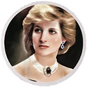 Princess Diana Round Beach Towel by Pennie  McCracken