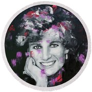 Round Beach Towel featuring the painting Princess Diana by Richard Day