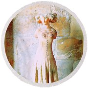 Princess In The Shadow Of Antiquity Round Beach Towel by Ann Johndro-Collins