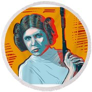 Princess Leia Round Beach Towel by Antonio Romero