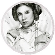 Princess Leia Portrait Carrie Fisher Art Round Beach Towel