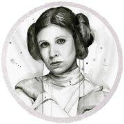 Princess Leia Portrait Carrie Fisher Art Round Beach Towel
