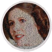 Round Beach Towel featuring the painting Princess Leia Quotes Mosaic by Paul Van Scott