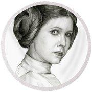 Princess Leia Watercolor Portrait Round Beach Towel