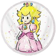 Princess Peach Watercolor Round Beach Towel