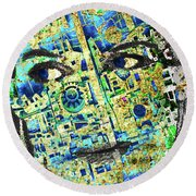 Round Beach Towel featuring the mixed media Princess by Tony Rubino