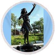 Princess Ulele Statue Round Beach Towel
