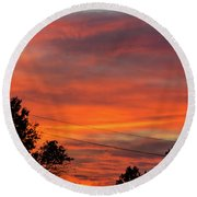 Princeton Junction Sunset Round Beach Towel