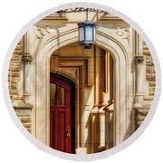 Round Beach Towel featuring the photograph Princeton University 1901 Laughlin Hall by Susan Candelario