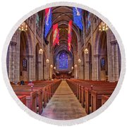 Round Beach Towel featuring the photograph Princeton University Chapel by Susan Candelario