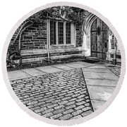 Round Beach Towel featuring the photograph Princeton University Foulke Hall Bw by Susan Candelario