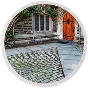 Round Beach Towel featuring the photograph Princeton University Foulke Hall by Susan Candelario