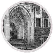 Round Beach Towel featuring the photograph Princeton University Lockhart Hall Dorms Bw by Susan Candelario