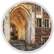 Round Beach Towel featuring the photograph Princeton University Lockhart Hall Dorms by Susan Candelario