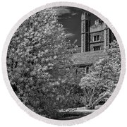 Round Beach Towel featuring the photograph Princeton University Buyers Hall by Susan Candelario