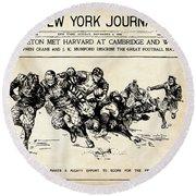 Round Beach Towel featuring the mixed media Princeton Vs Harvard - New York Journal 1896 by Daniel Hagerman
