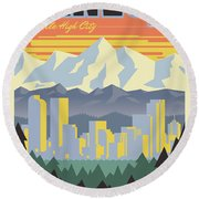Denver Retro Travel Poster Round Beach Towel