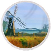 Priory Windmill Round Beach Towel