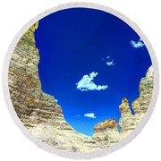 Pristine Sky Meets Historic Rocks Round Beach Towel